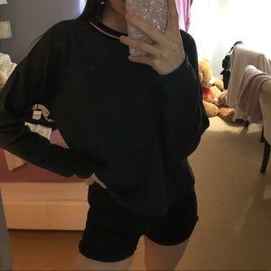Dark Grey Varsity Neckline Sweater